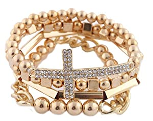 Ladies Gold 4 Piece Bundle of Iced Out Cross, Link, & Bar Chain Beaded Stretch Bracelet