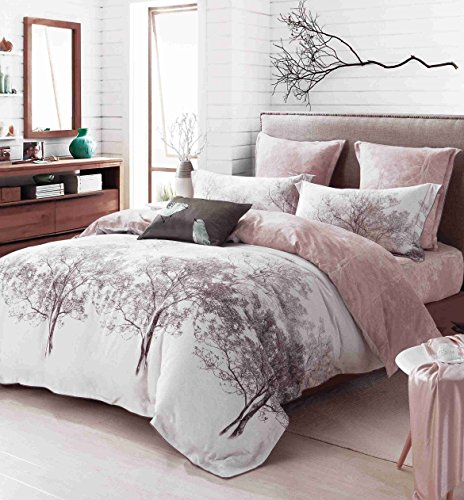 CASA 100% Cotton Brushed Cashmere Process series Branch Duvet Cover & Flat sheet & Pillow Case,Duvet Cover Set,Super Soft,4 Piece,King Size (Branches Duvet Cover compare prices)