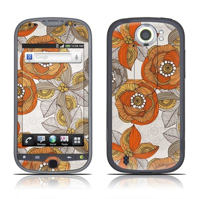Orange and Grey Flowers Design Protective Skin Decal Sticker for HTC MyTouch 4g Slide Cell Phone