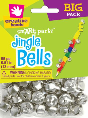 Fibre Craft - Creative Hands 58912 62E 55-Piece Value Pack Jingle Bells Decorative Supplies, Silver, 13mm
