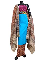 GiftPiper Ikat & Kalamkari Block Print Cotton Suit-Multicolor