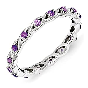 Sterling Silver Amethyst Ring by Stackable Expressions, Best Quality Free Gift Box Satisfaction Guaranteed