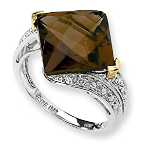 IceCarats Designer Jewelry Size 8 Sterling Silver 14K Whiskey Quartz Diamond Ring