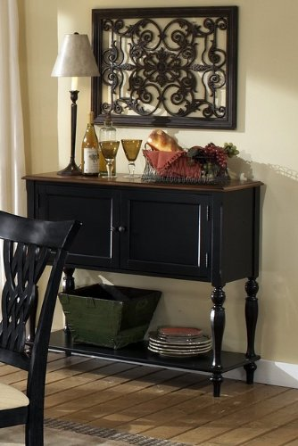 Buy Low Price Hillsdale Hillsdale Embassy Sideboard with Cherry Top in Rubbed Black Finish (4808-850)