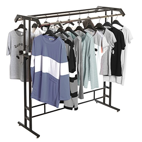 Deluxe Black Metal Double Rod Height Adjustable Clothing Display Rack / Retail Garment Stand - MyGift (Clothing Displays compare prices)