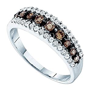 0.5 cttw 10k White Gold Brown Diamond White Diamond Wedding Band Anniversary Ring, 6mm ((L0825) Womens Size 8.25)