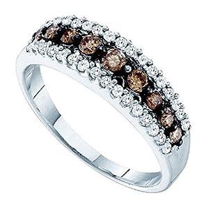 0.5 cttw 10k White Gold Brown Diamond White Diamond Wedding Anniversary Band, 6mm Size 4-11 (10)
