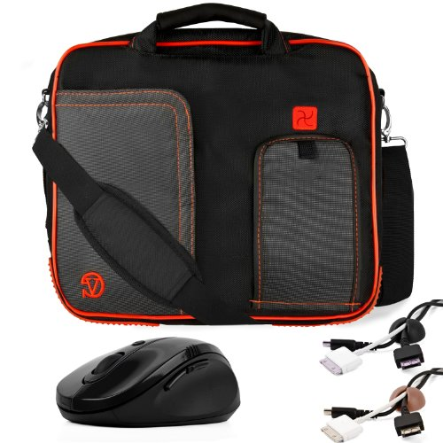 RED Decorate BLACK Pindar Durable Water-Unruly Nylon Protective Carrying Case Intermediary Shoulder Bag For Sony Vaio Y Series 11-inch Notebook Netbook + Coal-black Cable Organizer + Brown Cable Organizer + Ebony Wireless Laser 2.4Ghz Mouse w/ BACK and Ad