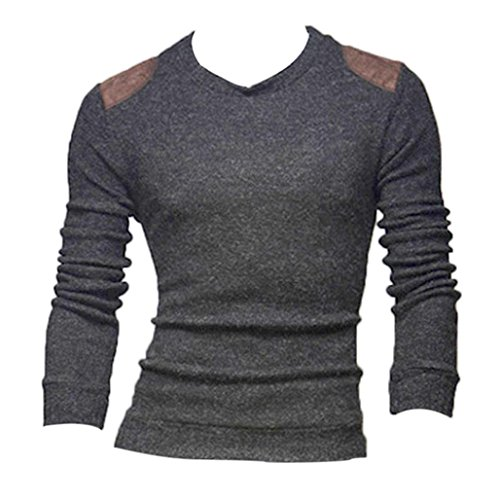 Men Polo Shirts,Leegor Casual Patch Knitting Sweater Slim Collar Tops Blouse (XL, Gray)