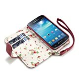 Samsung i9190 Galaxy S4 Mini Premium Faux Leather Wallet Case (Red with Floral Interior)