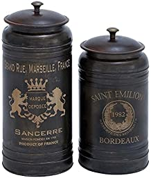 Fabron Canisters Set Of 2, SET OF 2, ANTIQUE BLACK