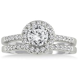 IGI Certified 1 1/6 CTW White Diamond Bridal Set in 10K White Gold (J-K Color, I2-I3 Clarity)