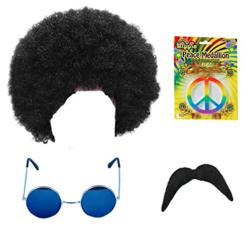 Hippie Hippy Man 1970s Afro Wig Sunglasses Moustache Fancy Dress