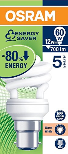 Osram 12W B22D Mini Spiral CFL Bulb (White, Pack Of 2)