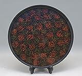 伝統漆器青森津軽塗 唐塗斑模様 丸盆 本漆 お盆 直径27cm