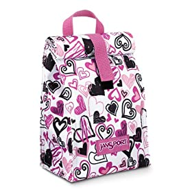JanSport Snack Pack (White/Pink Hearts)