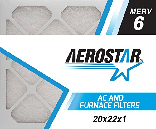 20x22x1 AC and Furnace Air Filter by Aerostar - MERV 6, Box of 6