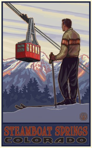 Northwest Art Mall Steamboat Springs Colorado Skier with Tram Poster, 11-Inch by 17-Inch (Steam Tram compare prices)