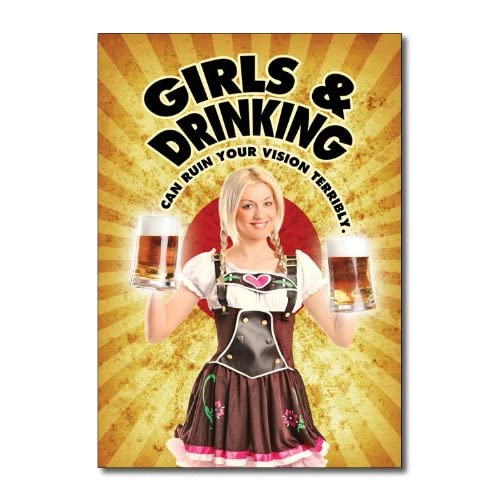 Funny Happy Birthday Card Girls And Drinking Humor