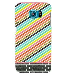 PrintVisa Colorful Stripes Pattern 3D Hard Polycarbonate Designer Back Case Cover for Samsung Galaxy S6 Edge