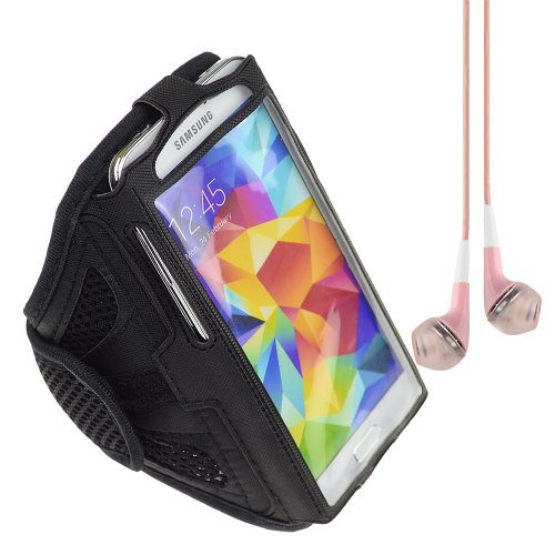 Adjustable Fabric Strap Workout Sports Armband For Samsung Galaxy S5 / S4 / Lg G2 / Amazon Fire Phone / Htc One - Black + Vangoddy Headphone With Mic , Pink