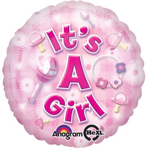 "18"" New Baby Girl Hx Foil Balloon (1 Per Package) front-1041384"