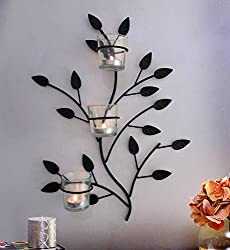TiedRibbons® Christmas Hanging Tlight candles /wall Sconce holder (Black, Metal)