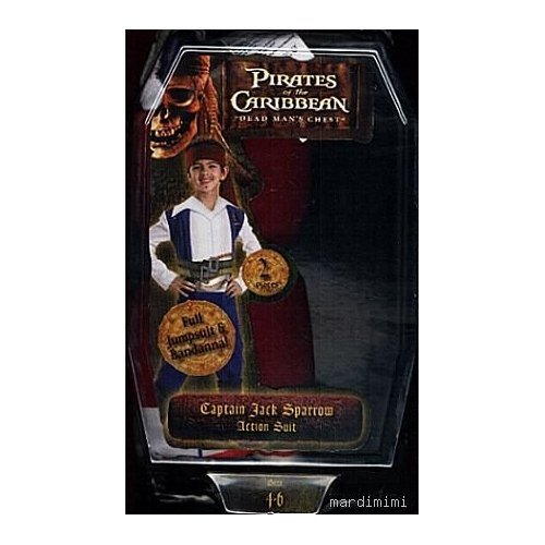 Pirates of the Caribbean Captain Jack Sparrow Action Suit Childs Costume Size 7 to 8