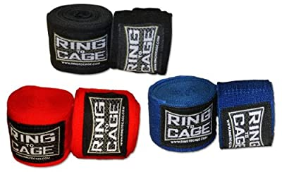 Boxing and MMA Mexican Stretch Handwraps 180 inches long - Pack of 3 Pairs by Ring to Cage