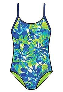 Speedo 7142351 Girls Tie Dye Blaze Keyhole 1-Piece, Blue, 8