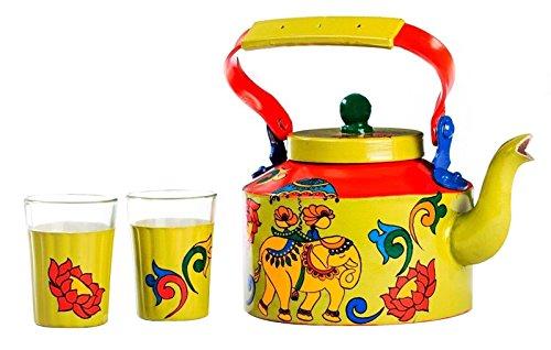 a-krazy-mug-tischdekor-handgemaltes-hathi-ki-sawari-thema-indischer-teekessel-mit-2-glassatzgeschenk