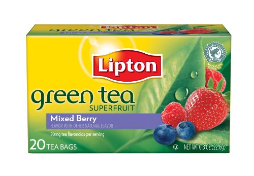 Lipton Green Tea, Mixed Berry, Tea Bags, 20Count Boxes (Pack of 6)