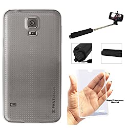 DMG PHNT Premium Scratch-Resistant Ultra Thin Clear TPU Skin Case for Samsung Galaxy S5 (Clear) + Wireless Bluetooth Selfie Stick with Image Zoom