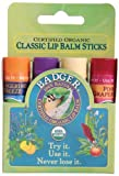 Badger Organic Lip Balm 4 Sticks Gift Set Green Pack