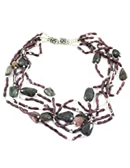 925 Silver Garnet,Tourmaline Princess Gemstone Necklace For Women 11614