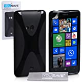 Yousave Accessories X Line Silicone Gel Cover Case for Nokia Lumia 625 - Black
