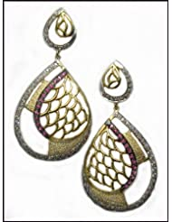 E-designs Rhodium / Gold Plated Earring With CZ Stone Alongwith Colour Stones Studded For Women
