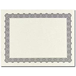 Metallic Silver Parchment Certificates - Pack of 25