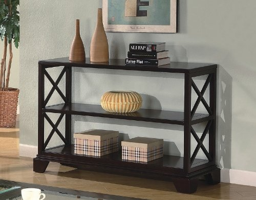 "Cheap Cappuccino Finish Cross ""X"" Design Sofa / Console Table (VF_700909)"