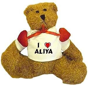 Oso de peluche con Amo Aliya en la camiseta (nombre de pila/apellido/apodo)