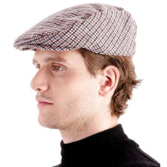 Gents Mens Hounds Tooth Checked Flat Cap Hat With Wool Winter - Red/Beige 58cm