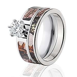 Amazon Mossy Oak Camo Bridal Set Camo Wedding Rings Pink Break Up Camo Rings Jewelry