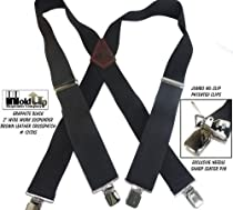 "Contractor Series 2"" Wide Black Work Suspenders Brown Leather X-back Crosspatch"