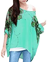 Allegra K Women Round Neck Printed Loose Chiffon Tunic Top