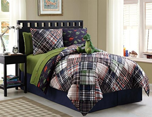 7 Pc Reversible Boys Dinosaur Comforter Set, Bed in a Bag, Twin Size Bedding, By Plush C Collection