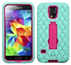 myLife Turquoise Blue and Hot Pink - Diamond Shock Suit Survivor Series (Built in Kickstand + Easy Grip Silicone) 3 Piece + 2 Layer Case for NEW Galaxy S5 (5g) Smartphone By Samsung (External Flex Silicone Bumper Gel + Internal 2 Piece Rubberized Snap Fitted Armor Protector + Shock Absorbing Material)