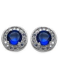 4.40 Grams Blue & White Cubic Zirconia .925 Sterling Silver Earrings