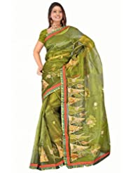 Sehgall Sarees Super Net Saree Attached Brocket Border And Blouse Green Saree
