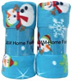 J & M Home Fashions Holiday Snowman Print Fleece Blanket, 50 by 60-Inch, 2-Pack