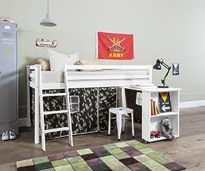 Cabin Bed with Desk in White & Mattress in Army Design , WHITE+MATTRESS